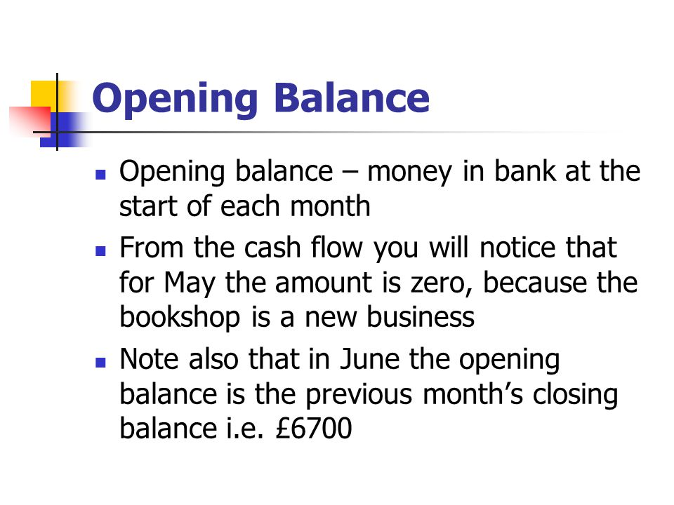 Opening Balance Opening balance – money in bank at the start of each month.