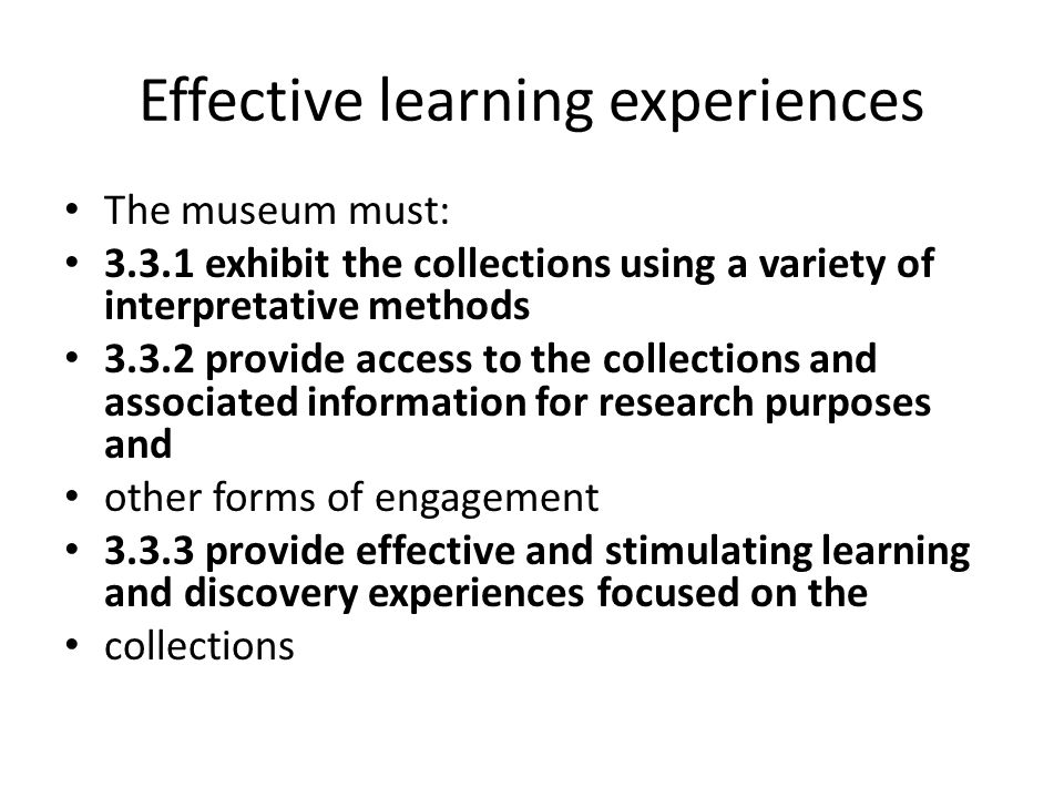 Effective learning experiences