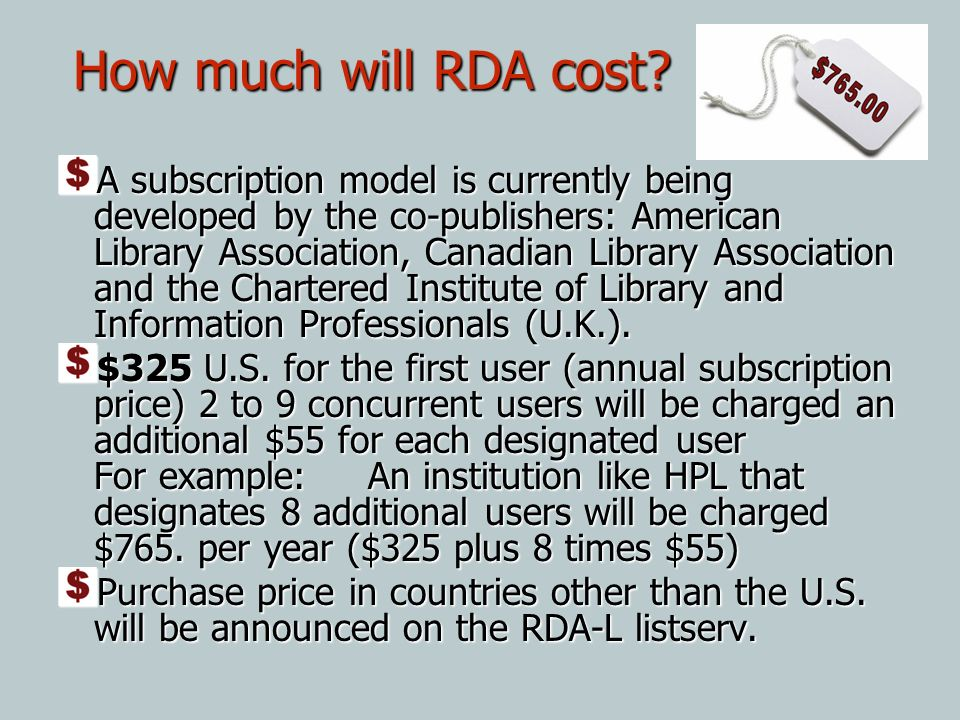 How much will RDA cost
