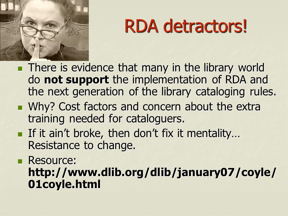 RDA detractors!
