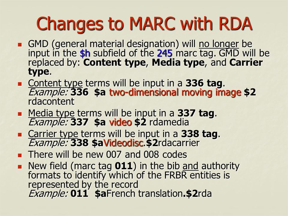 Changes to MARC with RDA