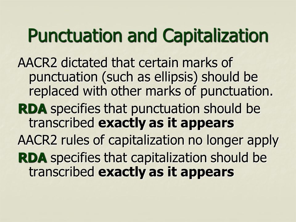 Punctuation and Capitalization