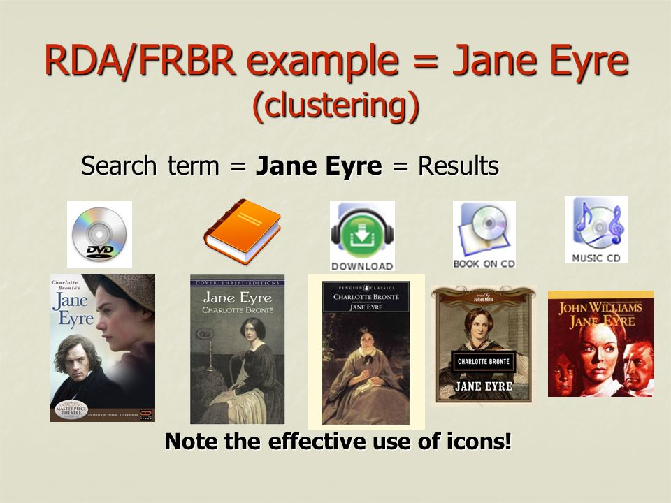 RDA/FRBR example = Jane Eyre (clustering)