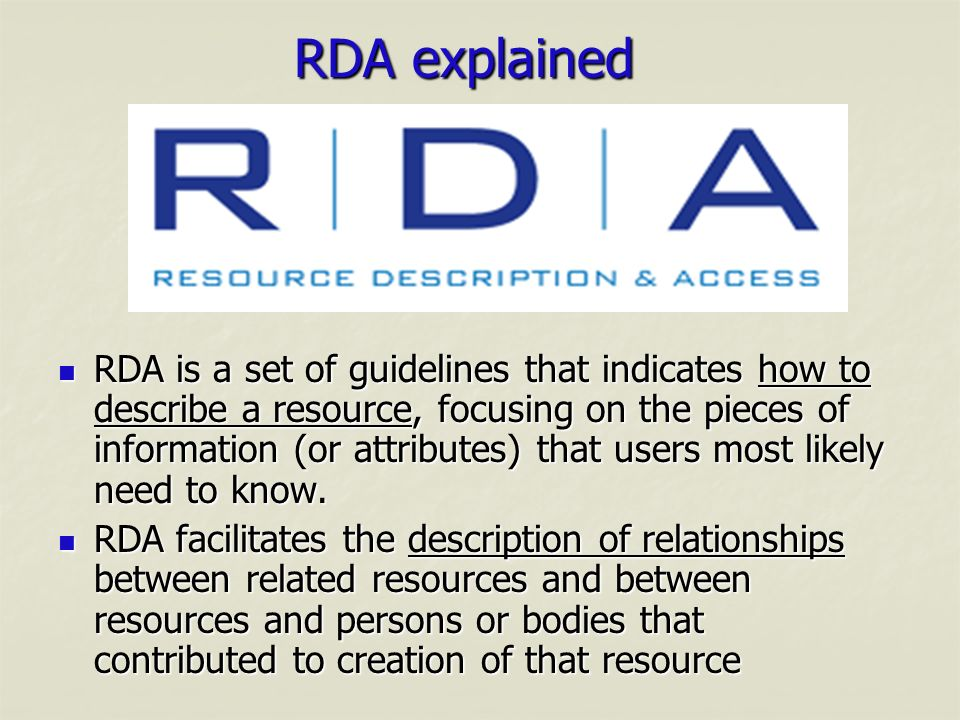 RDA explained