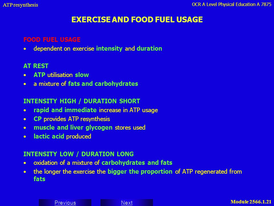 EXERCISE AND FOOD FUEL USAGE