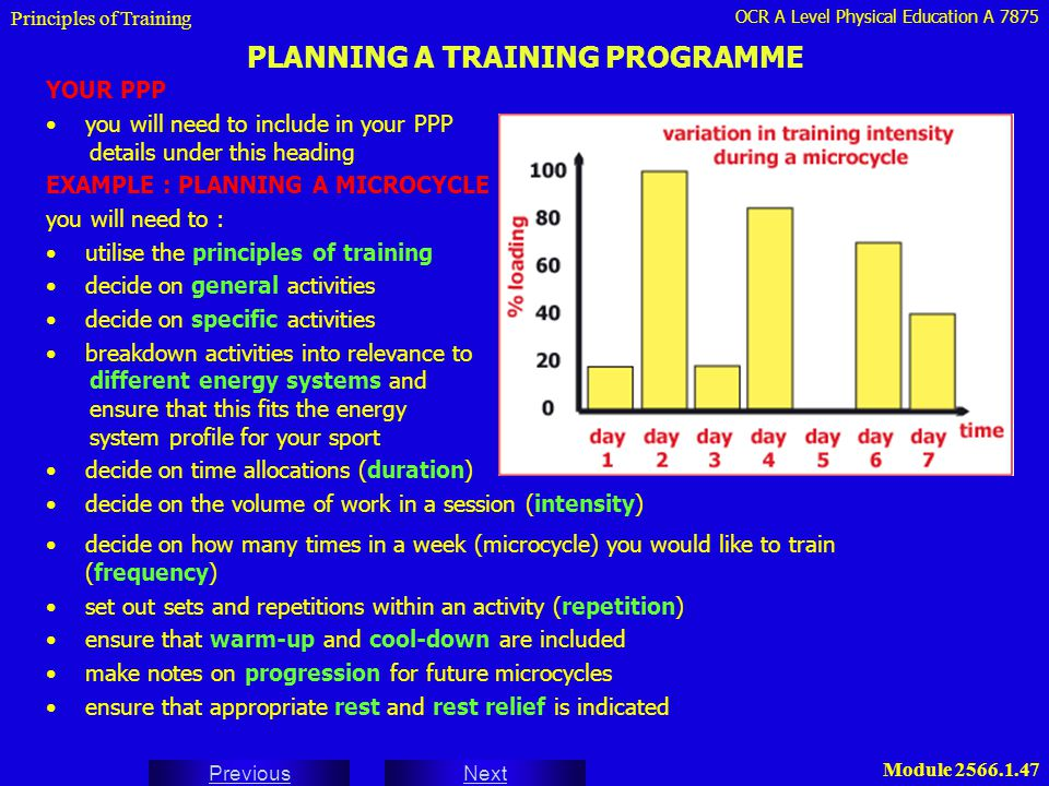 PLANNING A TRAINING PROGRAMME