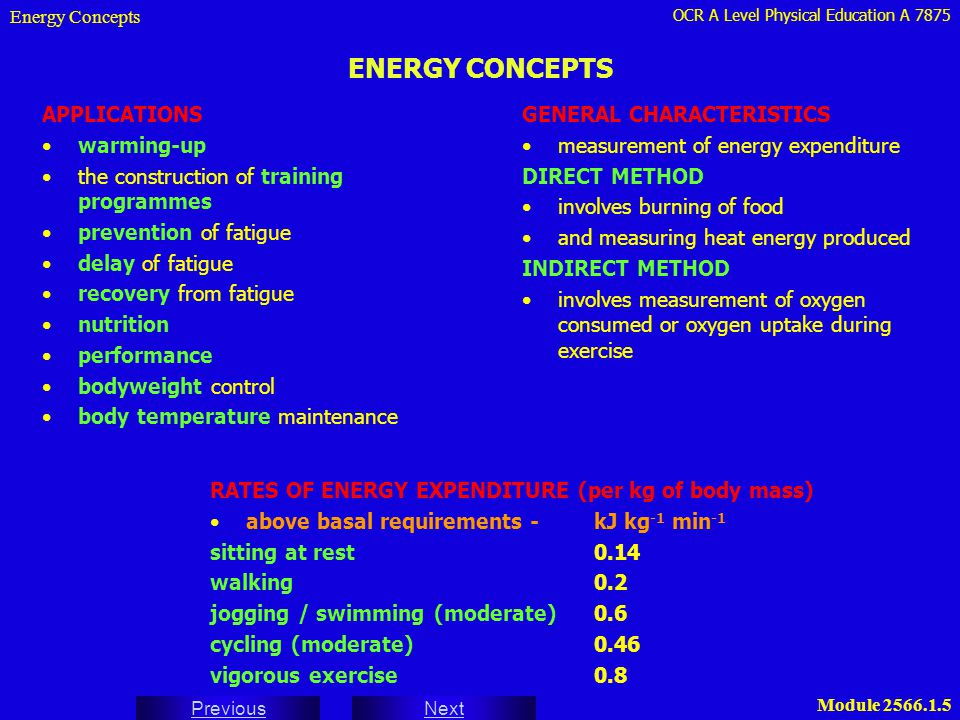 ENERGY CONCEPTS APPLICATIONS warming-up