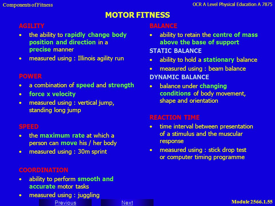 Components of Fitness MOTOR FITNESS. AGILITY. the ability to rapidly change body position and direction in a precise manner.