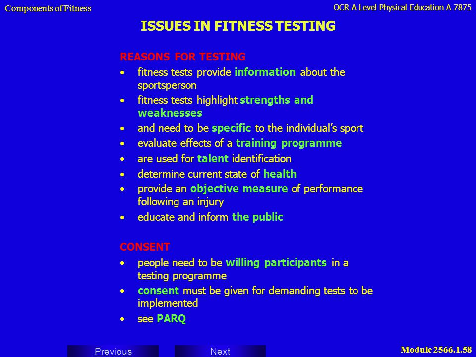 ISSUES IN FITNESS TESTING