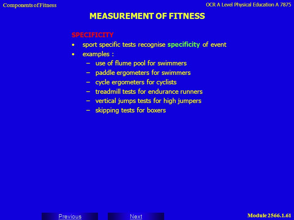 MEASUREMENT OF FITNESS