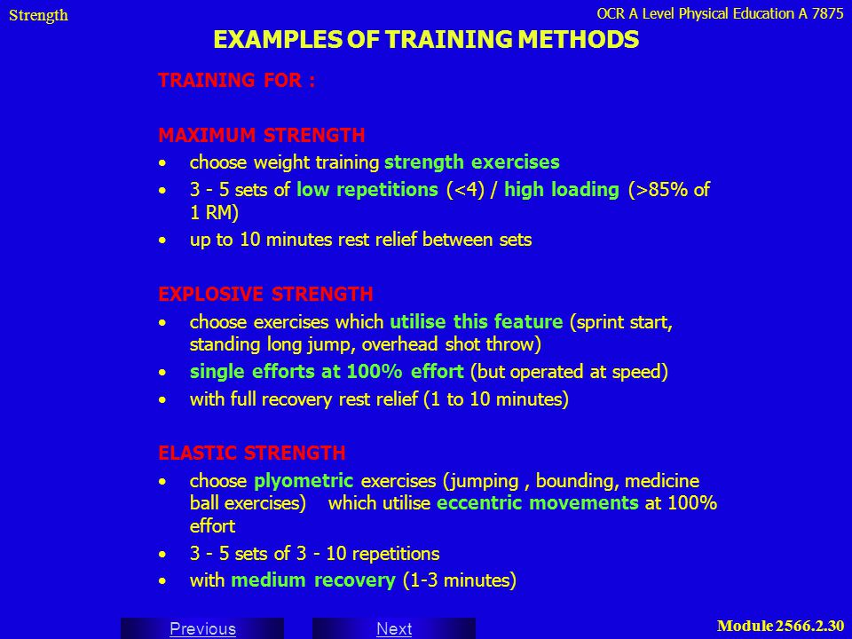 EXAMPLES OF TRAINING METHODS