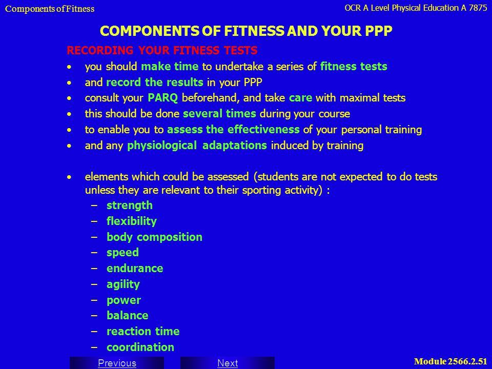 COMPONENTS OF FITNESS AND YOUR PPP
