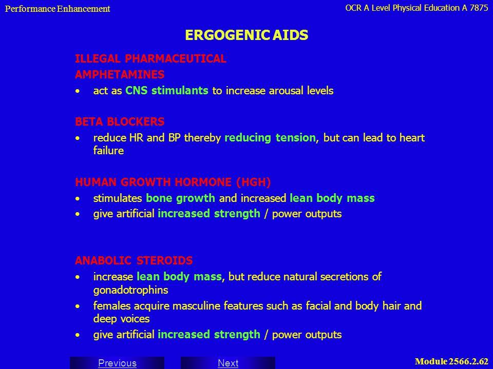 ERGOGENIC AIDS ILLEGAL PHARMACEUTICAL AMPHETAMINES