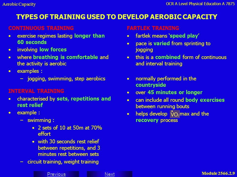 TYPES OF TRAINING USED TO DEVELOP AEROBIC CAPACITY