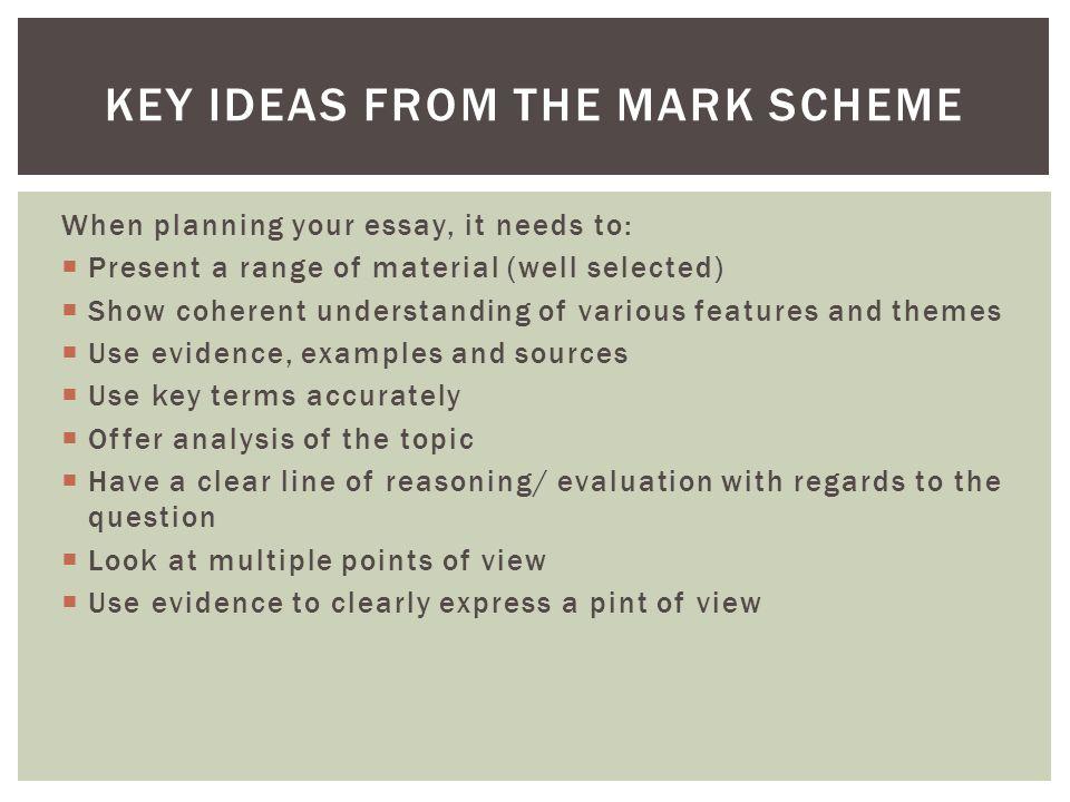 Key Ideas from the Mark scheme
