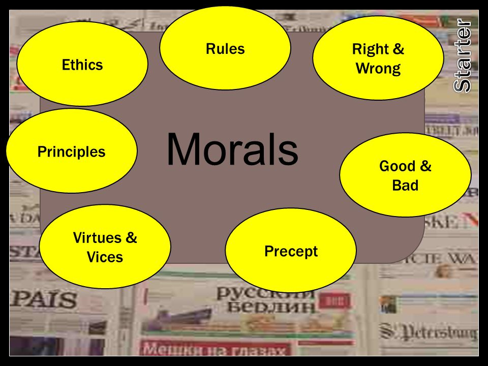Morals Starter Rules Right & Wrong Ethics Principles Good & Bad