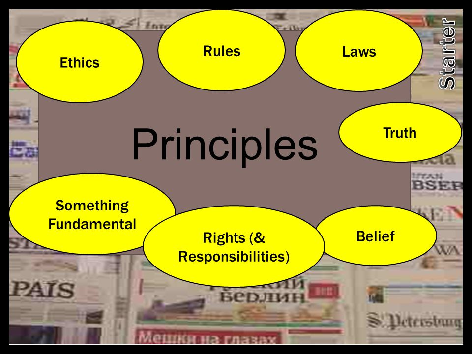 Principles Starter Rules Laws Ethics Truth Something Fundamental