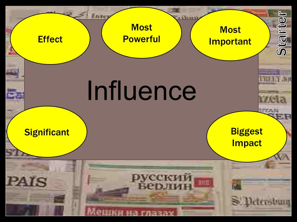 Influence Starter Most Powerful Most Important Effect Significant