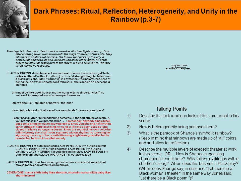 Dark Phrases: Ritual, Reflection, Heterogeneity, and Unity in the Rainbow (p.3-7)