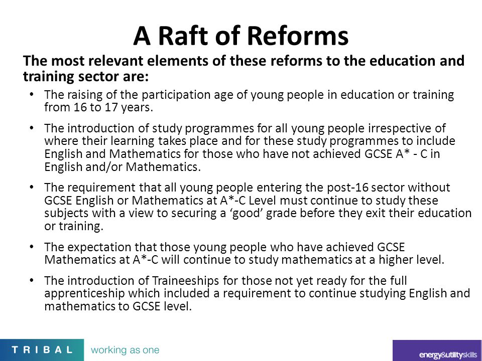 A Raft of Reforms The most relevant elements of these reforms to the education and training sector are: