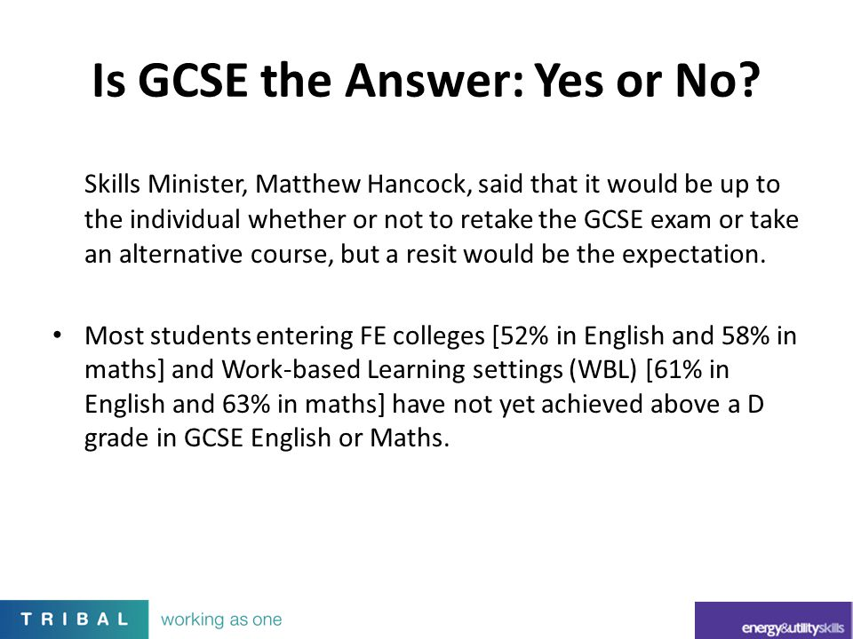 Is GCSE the Answer: Yes or No