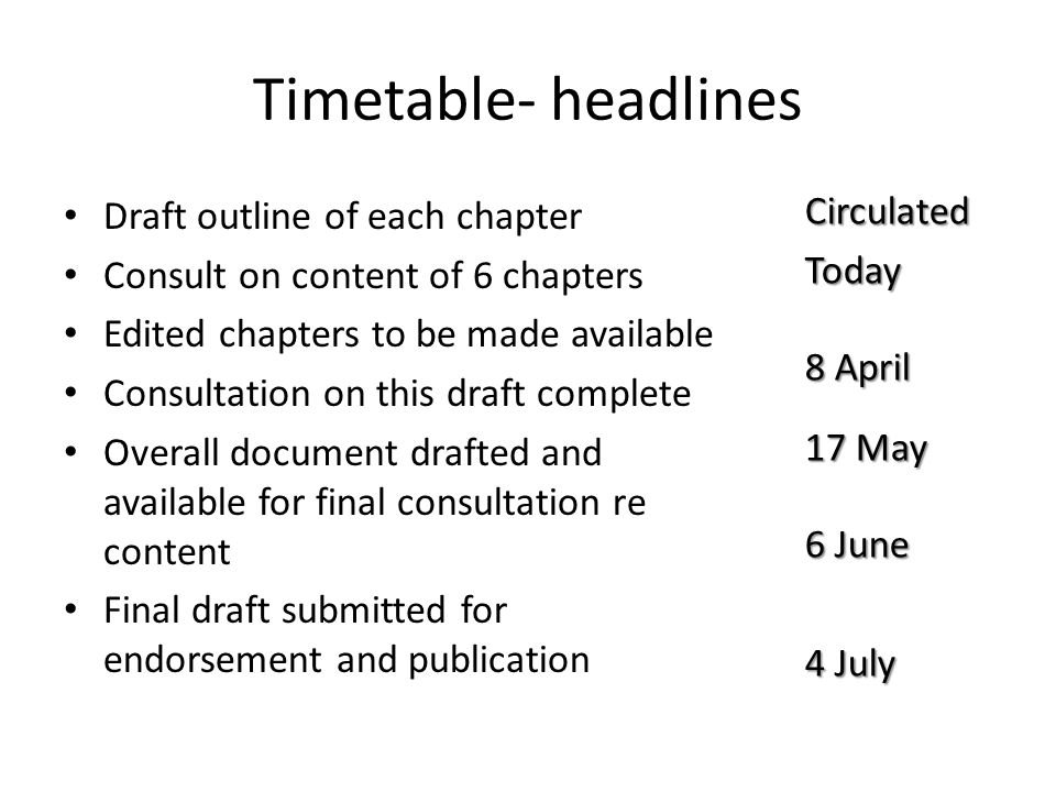 Timetable- headlines Circulated Today 8 April 17 May 6 June 4 July