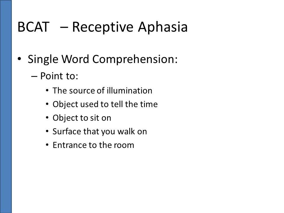 BCAT – Receptive Aphasia