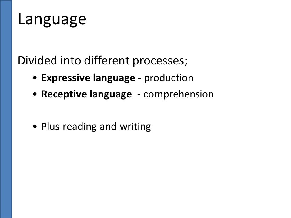 Language Divided into different processes;