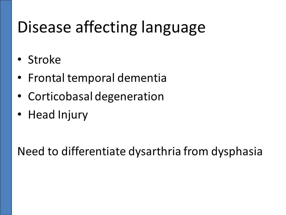 Disease affecting language