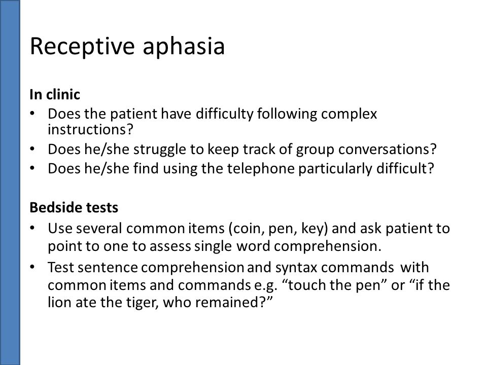 Receptive aphasia In clinic
