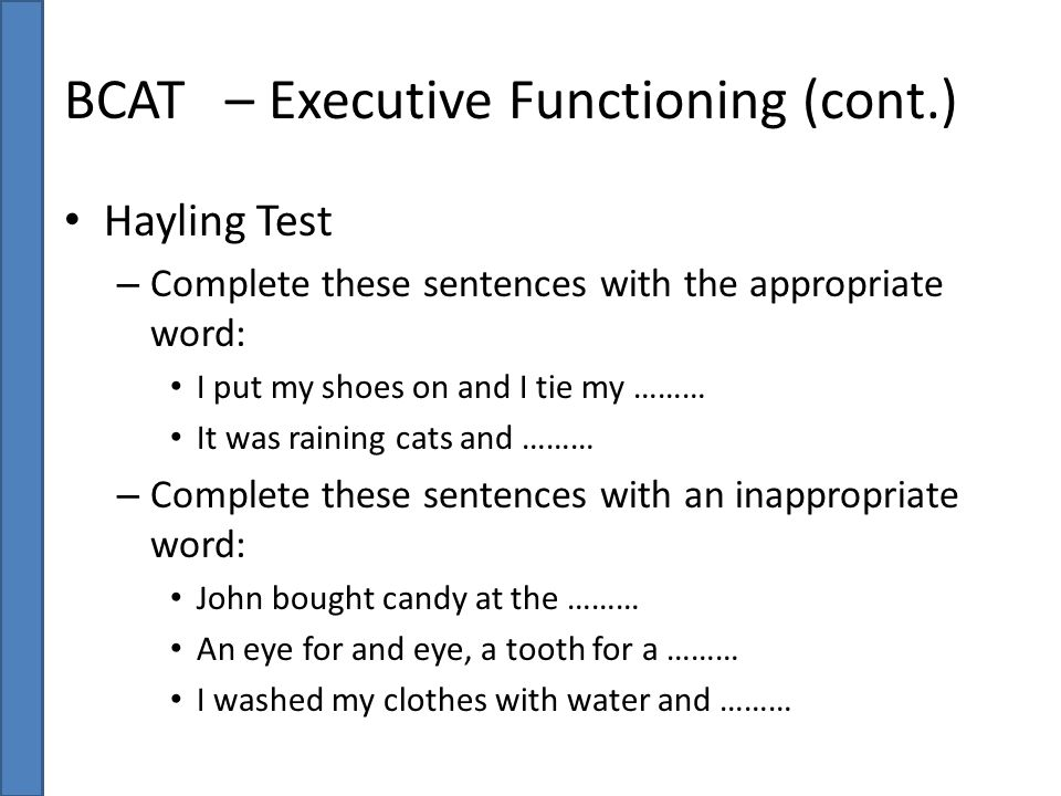 BCAT – Executive Functioning (cont.)