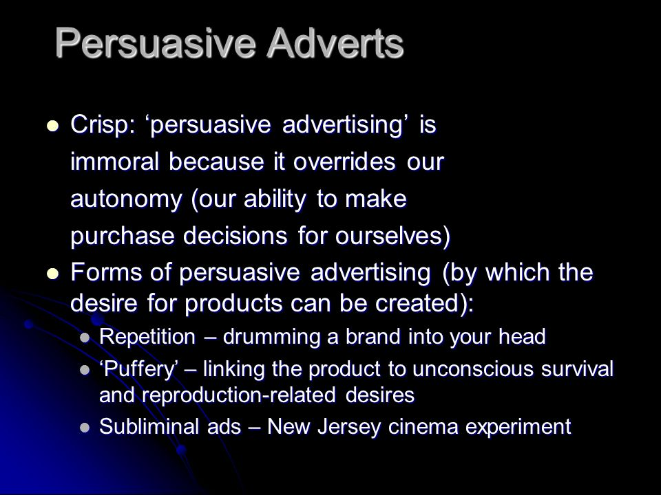 Persuasive Adverts Crisp: 'persuasive advertising' is