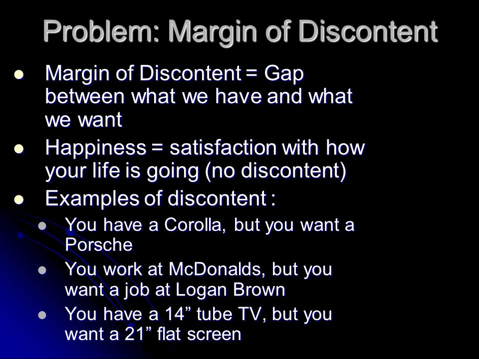 Problem: Margin of Discontent