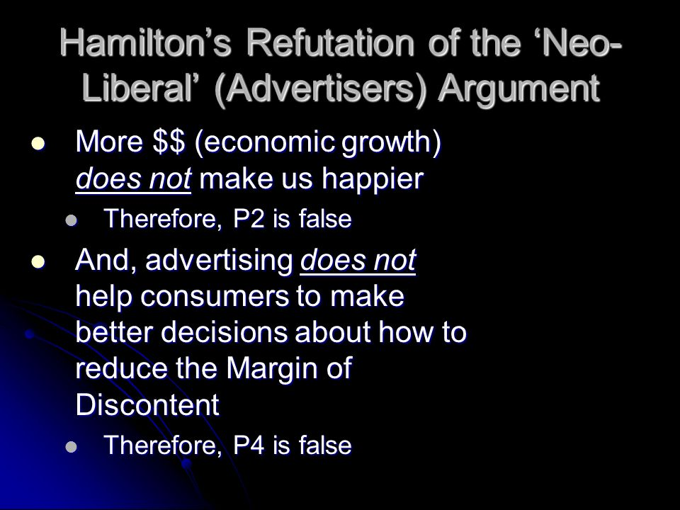 Hamilton's Refutation of the 'Neo-Liberal' (Advertisers) Argument