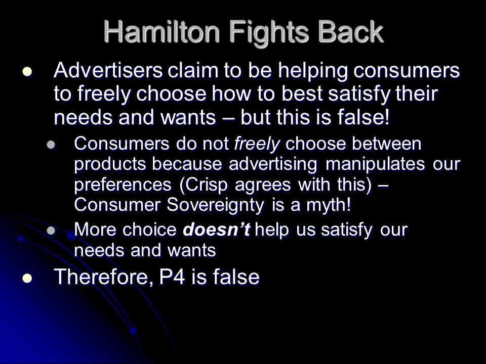 Hamilton Fights Back Advertisers claim to be helping consumers to freely choose how to best satisfy their needs and wants – but this is false!