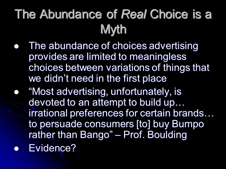 The Abundance of Real Choice is a Myth