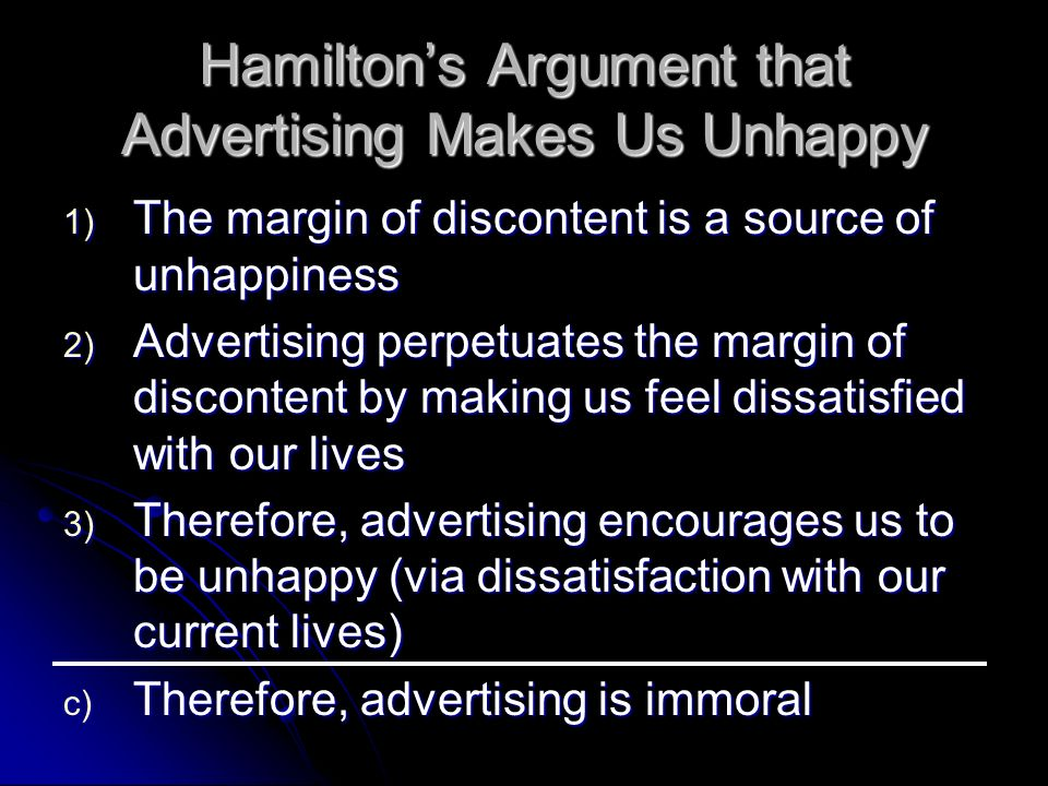 Hamilton's Argument that Advertising Makes Us Unhappy