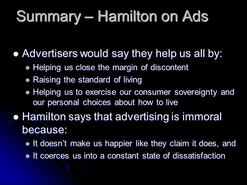 Summary – Hamilton on Ads