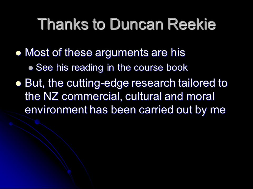 Thanks to Duncan Reekie