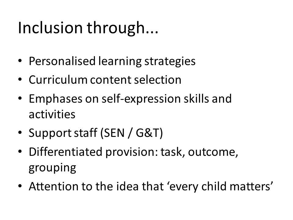 Inclusion through... Personalised learning strategies
