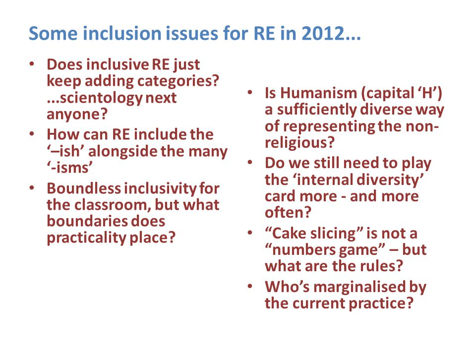Some inclusion issues for RE in 2012...