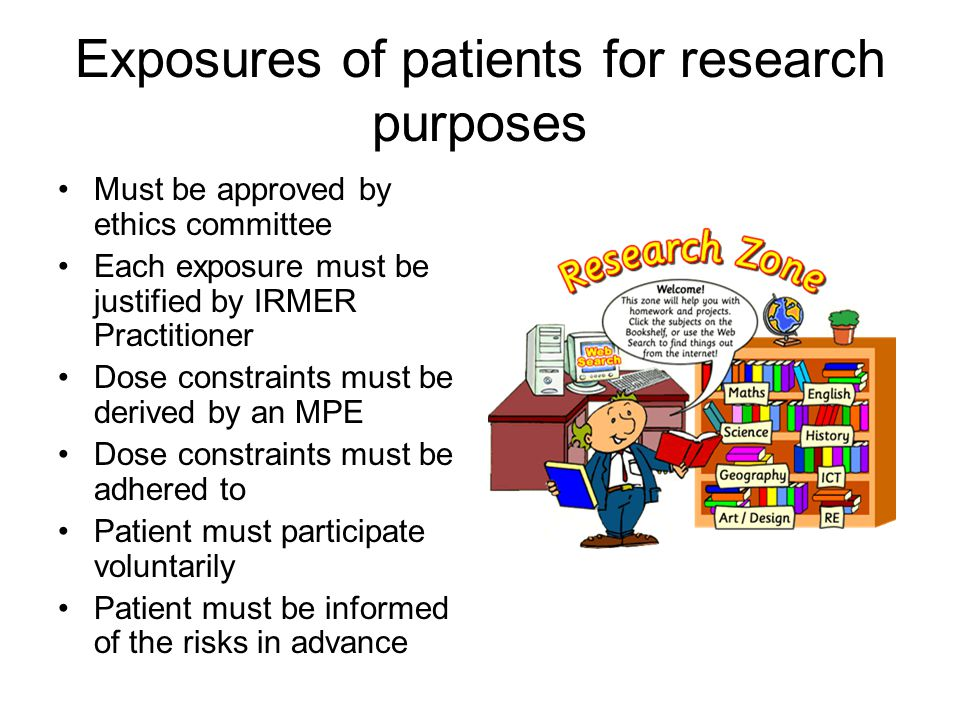 Exposures of patients for research purposes
