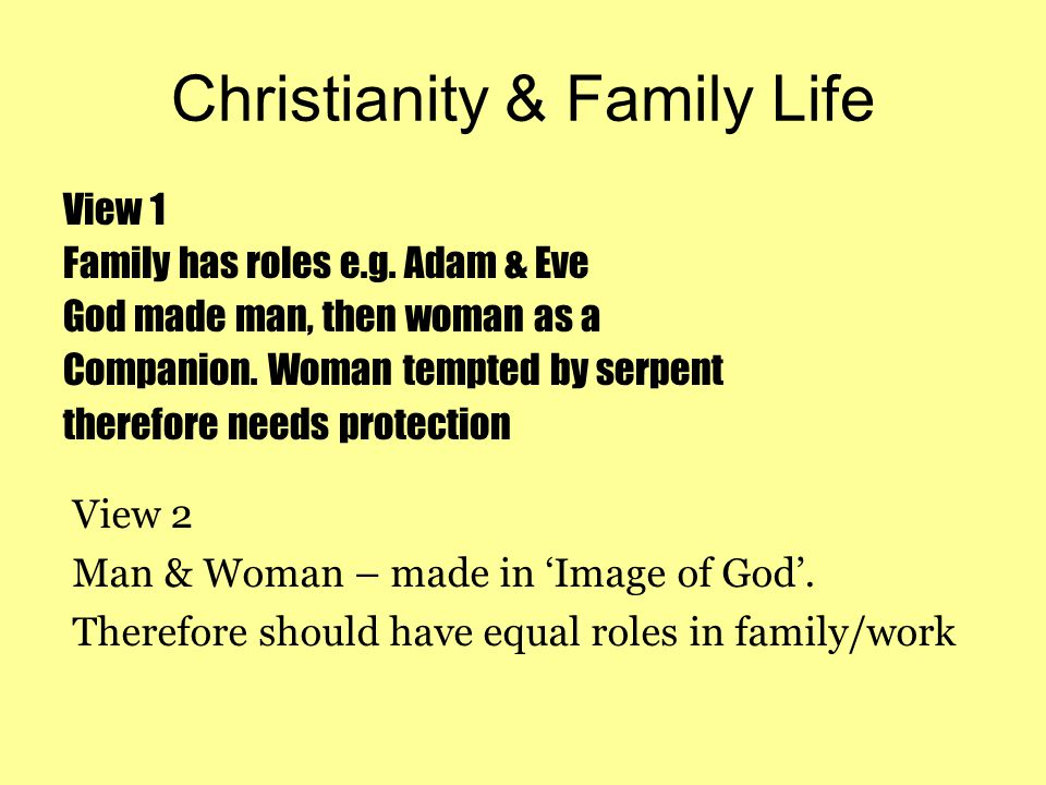 Christianity & Family Life