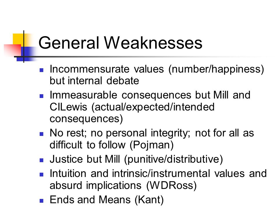 General Weaknesses Incommensurate values (number/happiness) but internal debate.