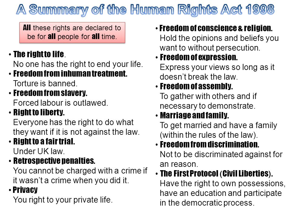 A Summary of the Human Rights Act 1998
