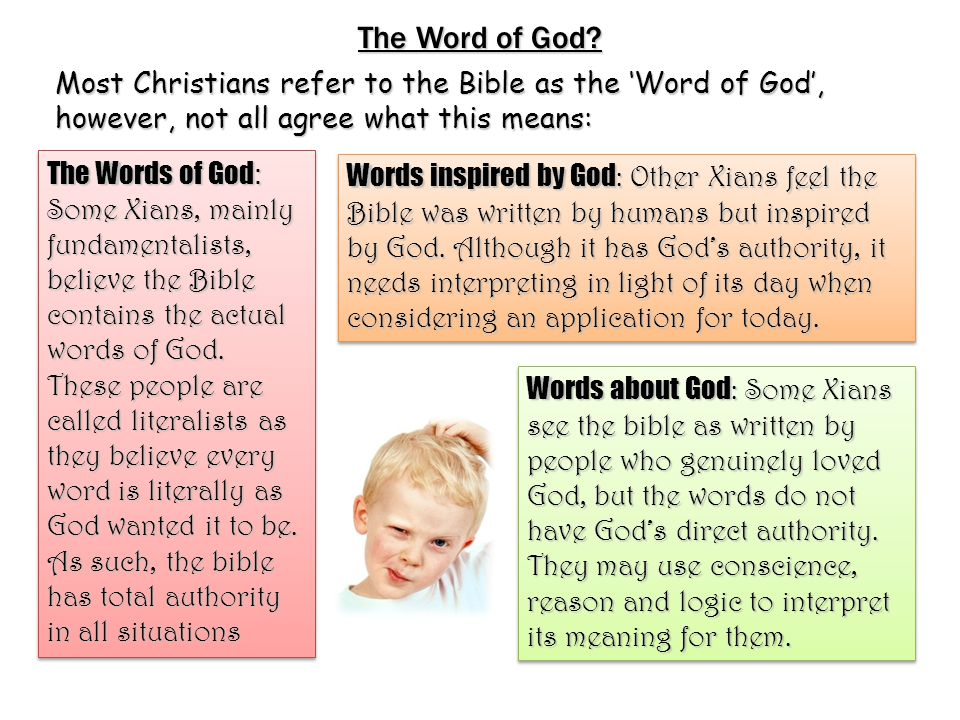 The Word of God Most Christians refer to the Bible as the 'Word of God', however, not all agree what this means: