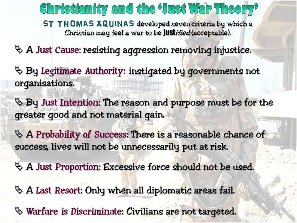 Christianity and the 'Just War Theory'