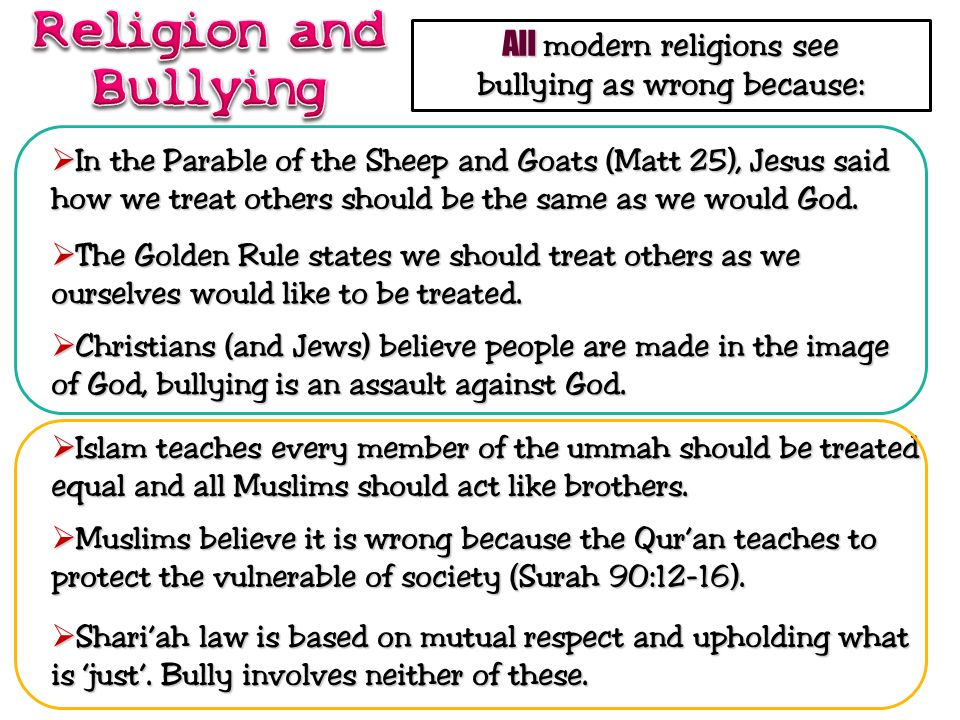 Religion and Bullying All modern religions see