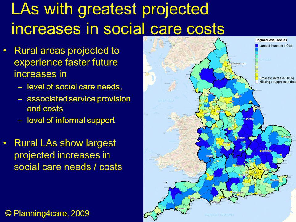 LAs with greatest projected increases in social care costs