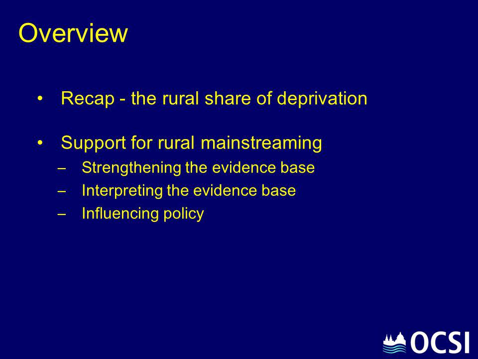 Overview Recap - the rural share of deprivation